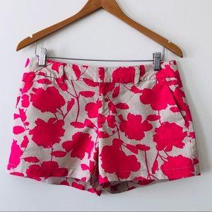 Loft Linen Shorts Floral Print Tan & Pink Size 4